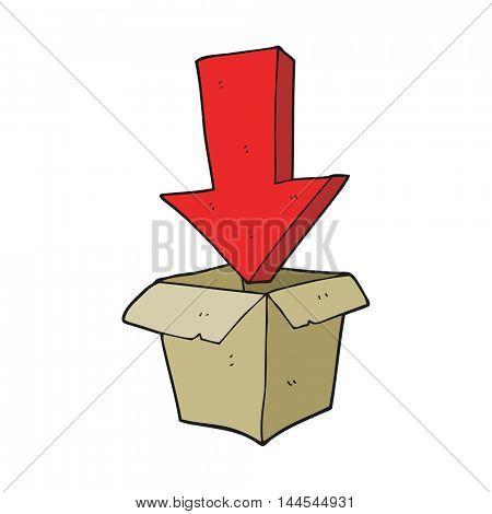 freehand drawn cartoon empty box with arrow