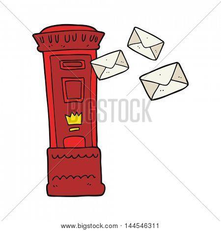freehand drawn cartoon british post box