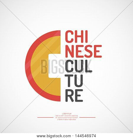 Poster vector illustration of Chinese culture.The isolated image of the objects of Asian culture.