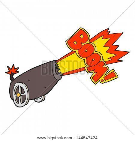 freehand drawn cartoon cannon shooting