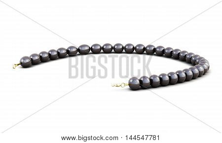 Black Pearl Beads Isolated On White Background. 3D Rendering