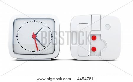 Alarm Clock With The Two Sides Isolated On White Background. 3D Rendering