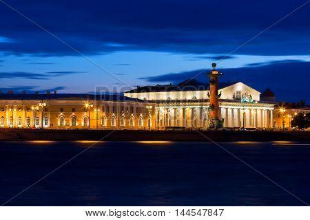 view of St. Petersburg. Vasilyevsky Island in White Night Russia