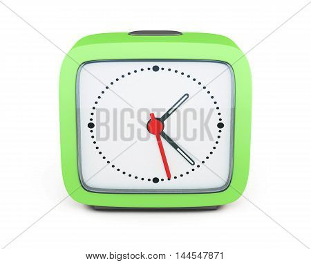 Square Alarm Clock Isolated On White Background. Front View. 3D Render Image