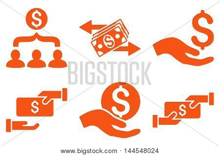 Payment vector icons. Pictogram style is orange flat icons with rounded angles on a white background.