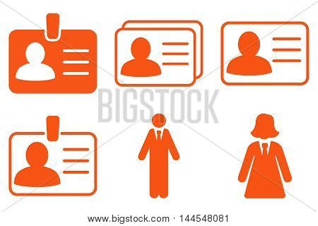 Person Account Card vector icons. Pictogram style is orange flat icons with rounded angles on a white background.