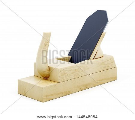 Wood Plane Tool Isolated On White Background. 3D Rendering