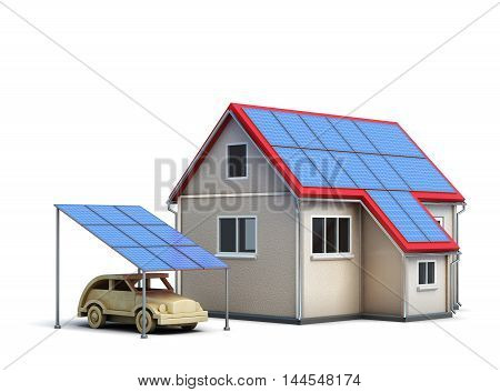 Eco Concept House Isolated On White Background. 3D Rendering