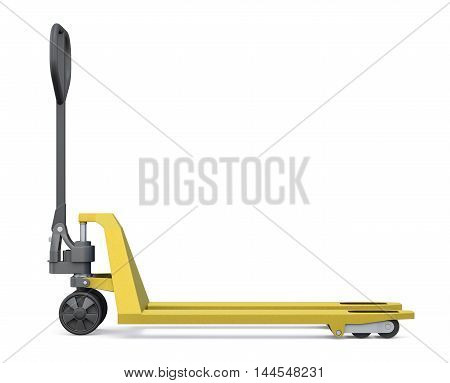 Hand Pallet Truck. Side View. 3D Render Image.