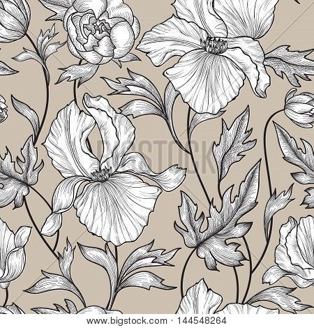 Floral seamless etching pattern. Flower background. Floral seamless texture with flowers. Flourish pattern