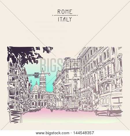 original urban architectural sketch drawing of Italy road cityscape building and cars, vector illustration