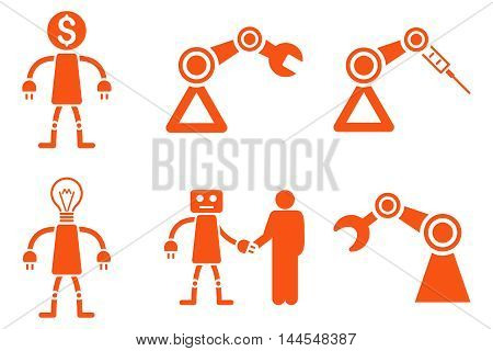 Robot vector icons. Pictogram style is orange flat icons with rounded angles on a white background.