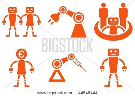 Robotics vector icons. Pictogram style is orange flat icons with rounded angles on a white background.