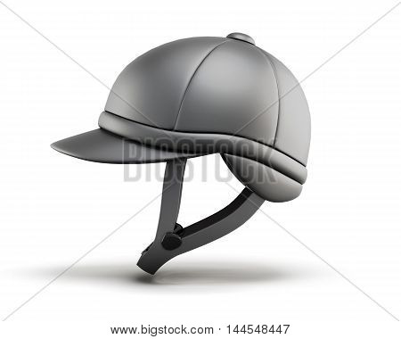 Helmet For Horseriding. Side View. 3D Render Image.