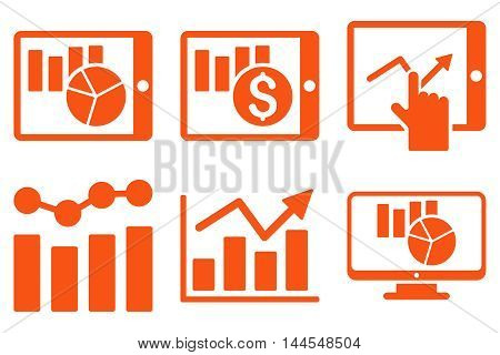 Sales Charts vector icons. Pictogram style is orange flat icons with rounded angles on a white background.