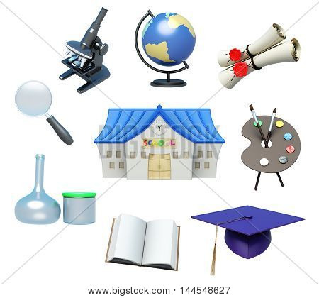 School Attributes And School Accessories On White Background. 3D Rendering