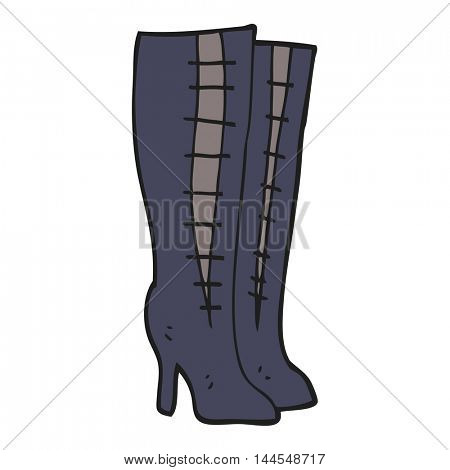 freehand drawn cartoon high boots