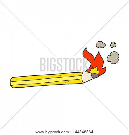 freehand drawn cartoon flaming pencil