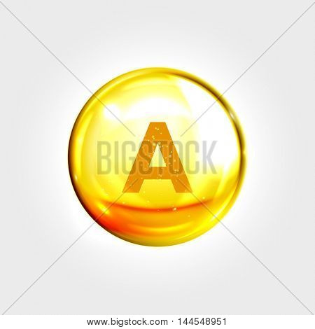 Vitamin A gold icon. Retinol vitamin drop pill capsule. Shining golden essence droplet. Beauty treatment nutrition skin care design. Vector illustration.
