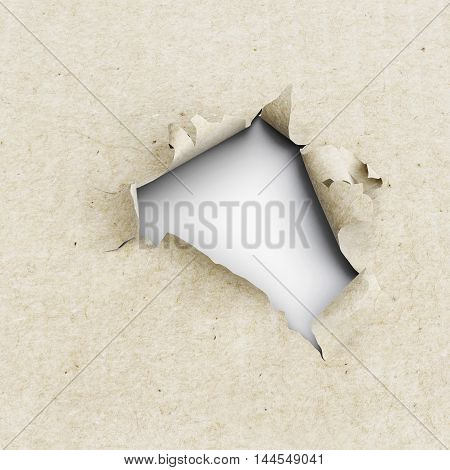 Hole In The Kraft Paper On A White Background. 3D Illustration.