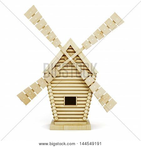 Wooden Windmill Front Isolated On White Background. 3D Rendering