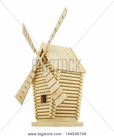 Wooden Windmill Side View Isolated On White Background. 3D Rendering