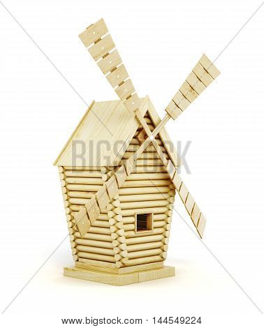 Wooden Windmill Side View Isolated On White Background. 3D Render Image