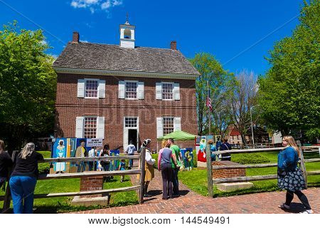 York PA - May 8 2016: An open house at a replica of the original York County courthouse which was constructed in 1976.