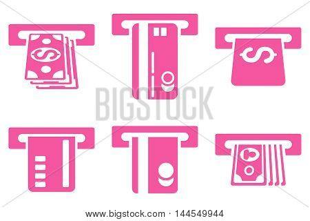 ATM Bank Cashout vector icons. Pictogram style is pink flat icons with rounded angles on a white background.