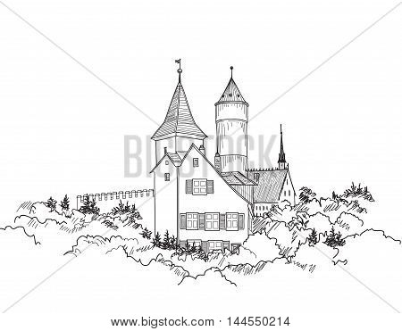 Medieval European Castle Landscape. Pencil Drawn Vector Sketch Of Ancient Building With Tower