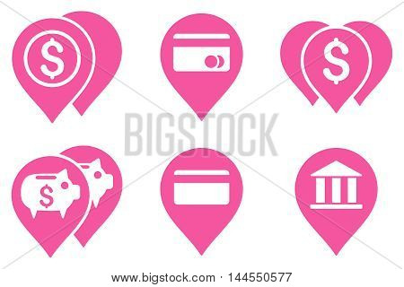 Bank Map Markers vector icons. Pictogram style is pink flat icons with rounded angles on a white background.
