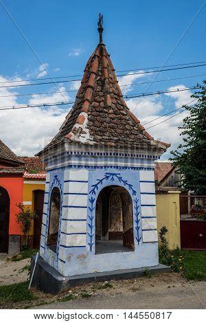 Small shrine in Saxon Sibiel village in Romania
