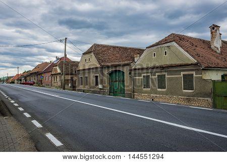 Typical Saxon houses in Miercurea Sibiului town in Romania