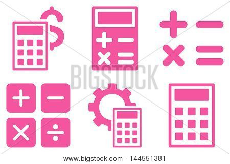 Calculator vector icons. Pictogram style is pink flat icons with rounded angles on a white background.