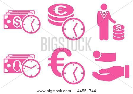 Credit vector icons. Pictogram style is pink flat icons with rounded angles on a white background.