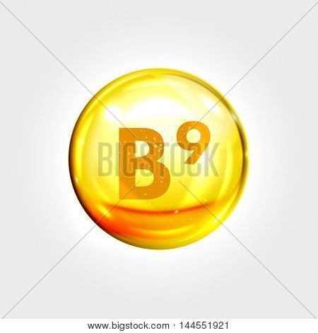 Vitamin B9 gold icon. Folic acid vitamin drop pill capsule. Shining golden essence droplet. Beauty treatment nutrition skin care design. Vector illustration.