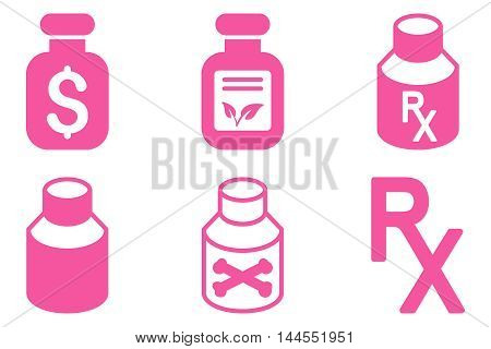 Drugs Vial vector icons. Pictogram style is pink flat icons with rounded angles on a white background.