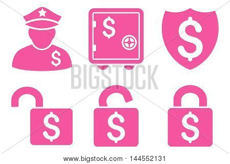 Financial Guard vector icons. Pictogram style is pink flat icons with rounded angles on a white background.