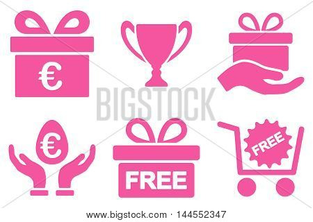 Gift vector icons. Pictogram style is pink flat icons with rounded angles on a white background.