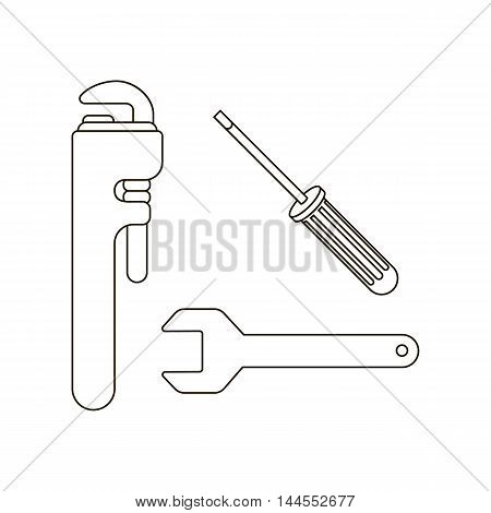 Pipe wrenches icon line. Single silhouette plumbing symbol.