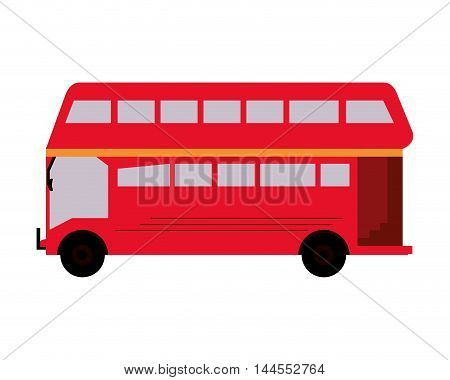 flat design double decker bus icon vector illustration