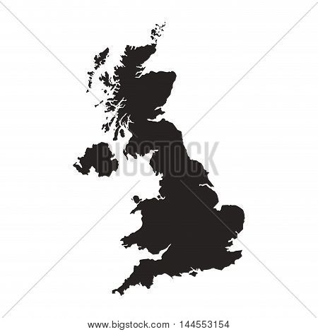 flat design great britain map silhouette icon vector illustration