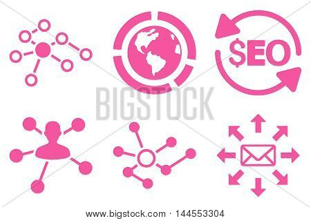 Seo Link Building vector icons. Pictogram style is pink flat icons with rounded angles on a white background.