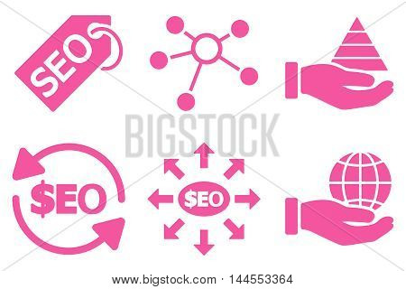 Seo Marketing vector icons. Pictogram style is pink flat icons with rounded angles on a white background.