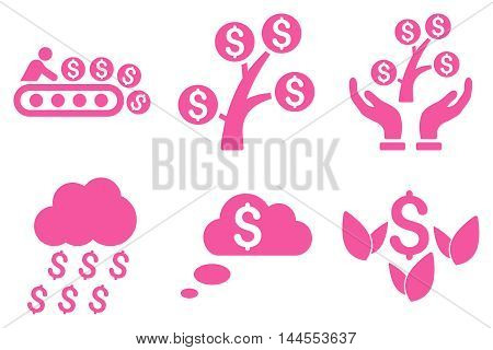 Success Startup vector icons. Pictogram style is pink flat icons with rounded angles on a white background.
