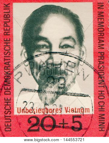 GERMANY- CIRCA 1970: A stamp printed in Germany shows Ho Chi Minh, circa 1970