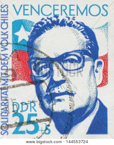 GERMAN DEMOCRATIC REPUBLIC - CIRCA 1973: stamp showing an image of president Salvador Allende, circa 1973