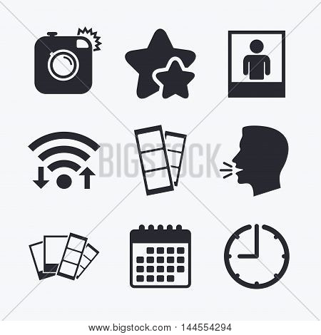 Hipster photo camera icon. Flash light symbol. Photo booth strips sign. Human portrait photo frame. Wifi internet, favorite stars, calendar and clock. Talking head. Vector