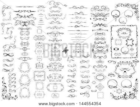 Huge set of beautiful wedding frames and rulers