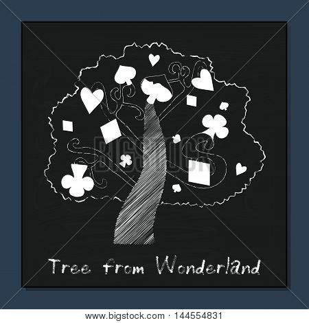 Tree from Alice Adventures in Wonderland Forest or Garden. Vector Element on Chalkboard Background. Illustration for Graphic projects, Parties, Web.